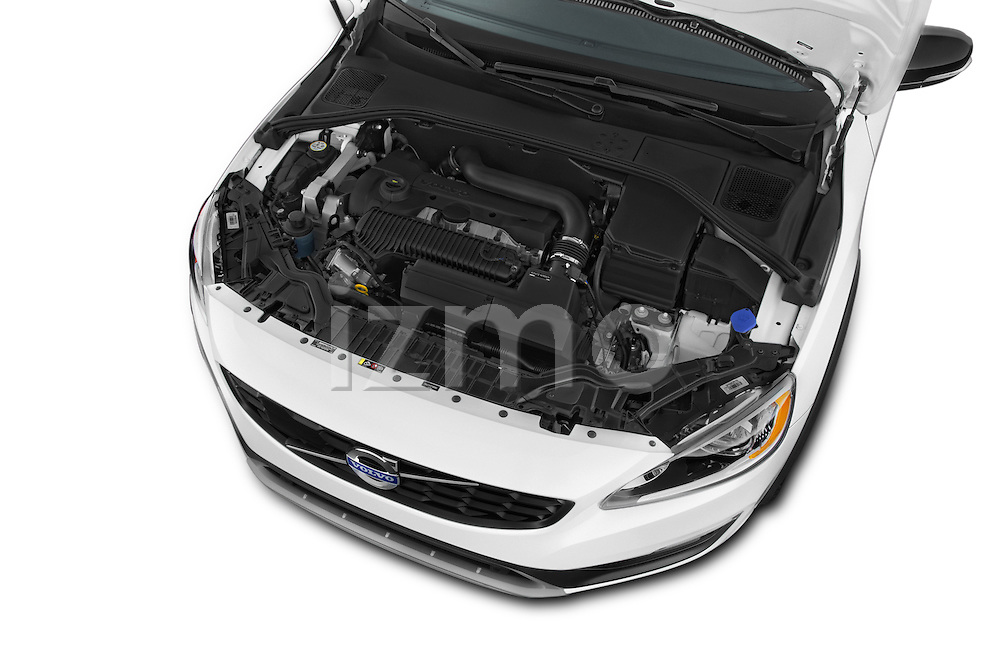 Car Stock 2017 Volvo V60 T5-Cross-Country 5 Door Wagon Engine  high angle detail view