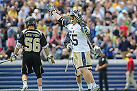 Annapolis, MD - April 15, 2017: Navy Midshipmen Brady Dove (55) celebrates after scoring a goal during game between Army vs Navy at  Navy-Marine Corps Memorial Stadium in Annapolis, MD.   (Photo by Elliott Brown/Media Images International)