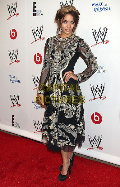 Vanessa Hudgens<br /> WWE &amp; E! Entertainment's &quot;SuperStars For Hope&quot; supporting Make-A-Wish at The Beverly Hills Hotel in Beverly Hills, CA., USA.<br /> August 15th, 2013<br /> side gold black embroidered hair up braid plait dyed blonde full length hand on hip dress<br /> CAP/ADM/RE<br /> &copy;Russ Elliot/AdMedia/Capital Pictures