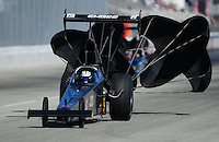 Feb. 10, 2012; Pomona, CA, USA; NHRA top alcohol dragster driver Larry Miersch during qualifying at the Winternationals at Auto Club Raceway at Pomona. Mandatory Credit: Mark J. Rebilas-