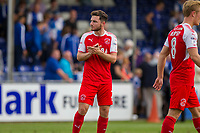 Lewis Coyle of Fleetwood Town claps the fans at full time of the Sky Bet League 1 match between Bristol Rovers and Fleetwood Town at the Memorial Stadium, Bristol, England on 26 August 2017. Photo by Mark  Hawkins.