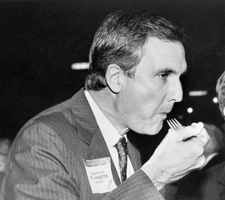 "Rep. Robert Linlithgow ""Bob"" Livingston, D- La., House Appropriations Committee Chair, eating at ""Chef d'oeuvre"". September 25, 1989 (Photo by Laura Patterson/CQ Roll Call)"