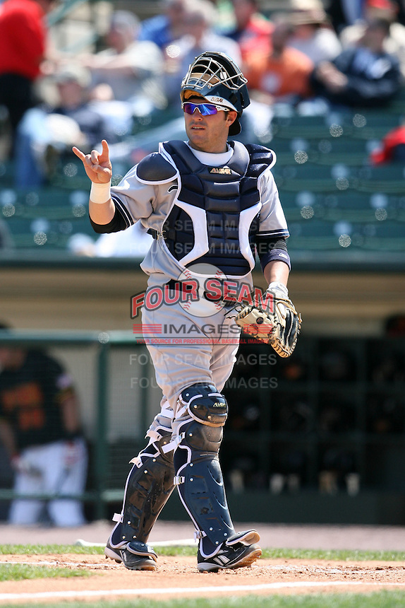 April 26, 2009:  Catcher P.J. Pilittere (22) of the Scranton Wilkes-Barre Yankees, International League Class-AAA affiliate of the New York Yankees, during a game at the Frontier Field in Rochester, NY.  Photo by:  Mike Janes/Four Seam Images