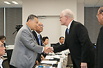 (L-R) Yoshiro Mori, Fujio Mitarai, Kevin Dornberger, AUGUST 7, 2015 : AUGUST 7, 2015 : The Tokyo 2020 Organising Committee interviews members of the World Bowling (WB), as it considers new events for inclusion in the 2020 Tokyo Olympic Games, Tokyo, Japan. (Photo by Uta MUKUO/Tokyo2020/AFLO)