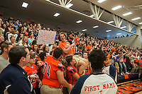 NWA Democrat-Gazette/ANTHONY REYES &bull; @NWATONYR<br /> Members of the Heritage football team and students jump and dance Friday, Sept. 25, 2015 during a pep rally at the school in Rogers. The event including the introduction of the 2015 homecoming court, musical performances, dancing and a pep rally for a football game against Springdale.