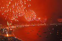 New Year celebration at Copacabana beach, Rio de Janeiro, Brazil. Fireworks.