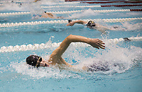 NWA Democrat-Gazette/CHARLIE KAIJO Bentonville's Brigham Hill swims the boys 100 yard freestyle during a swim meet, Saturday, February 9, 2019 at the University of Arkansas HYPER pool in Fayetteville.