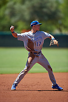AZL Royals shortstop Bobby Witt Jr. (17) throws to first base during an Arizona League game against the AZL Dodgers Lasorda on July 4, 2019 at Camelback Ranch in Glendale, Arizona. The AZL Royals defeated the AZL Dodgers Lasorda 4-1. (Zachary Lucy/Four Seam Images)