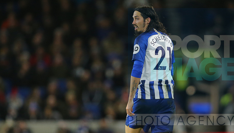 Brighton's Ezequiel Schelotto during the Premier League match at the American Express Community Stadium, Brighton and Hove. Picture date: 8th February 2020. Picture credit should read: Paul Terry/Sportimage