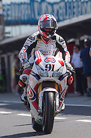 Leon Haslam (GBR) riding the Honda CBR1000RR (91) of the Pata Honda World Superbike Team leaving the pits for a practise session on day one of round one of the 2013 FIM World Superbike Championship at Phillip Island, Australia.