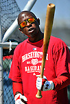 19 February 2011: Washington Nationals' outfielder Nyjer Morgan prepares for hitting drills during Spring Training at the Carl Barger Baseball Complex in Viera, Florida. Mandatory Credit: Ed Wolfstein Photo