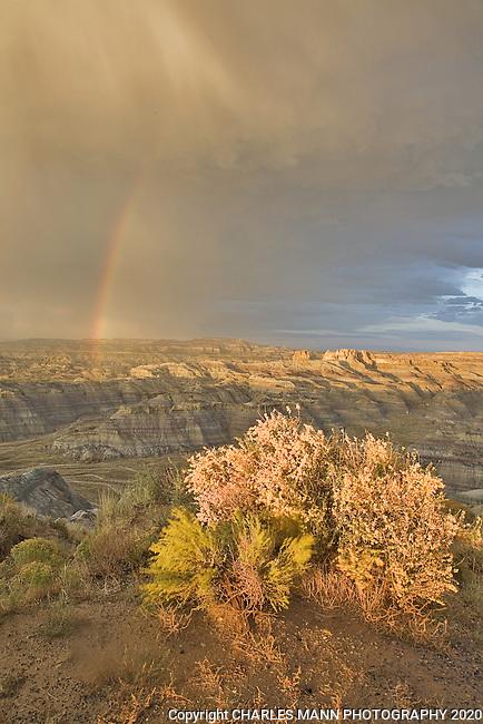 An October rainstorm produces a rainbow and beautiful,  moody skies over Angel Peak Recreation Area near Bloomfield, New Mexcio