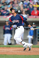 Kane County Cougars second baseman Gioskar Amaya #13 hits a home run during a game against the Beloit Snappers May 26, 2013 at Fifth Third Bank Ballpark in Geneva, Illinois.  Beloit defeated Kane County 6-5.  (Mike Janes/Four Seam Images)