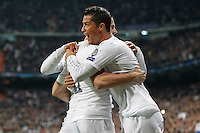 Players Real Madrid  Nacho and Cristiano Ronaldo celebrating goal  of Nacho