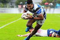 Jona Sawailau scores duringm the Mitre 10 Heartland Championship rugby union match between Horowhenua Kapiti and Wanganui at Levin Domain in Levin, New Zealand on Saturday, 7 October 2017. Photo: Dave Lintott / lintottphoto.co.nz