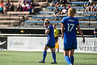 Seattle, WA - Sunday, May 1, 2016: Seattle Reign FC midfielder Kim Little (8) reacts to her free kick during the first half of a National Women's Soccer League (NWSL) match at Memorial Stadium. Seattle won 1-0.