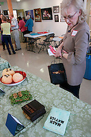 Books made from edible materials are seen during the San Diego Book Arts ninth annual Edible Book Tea at the Watercolor Society Gallery, NTC Pomenade, Liberty Station, San Diego, California Saturday, April 5, 2008.  The event featured books made from edible materials amd prizes were award to the best entrants.