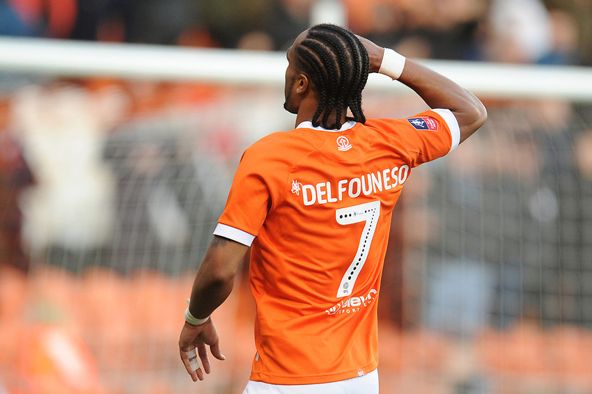 Blackpool's Nathan Delfouneso celebrates scoring his side's second goal <br /> <br /> Photographer Kevin Barnes/CameraSport<br /> <br /> Emirates FA Cup Second Round - Blackpool v Maidstone United - Sunday 1st December 2019 - Bloomfield Road - Blackpool<br />  <br /> World Copyright © 2019 CameraSport. All rights reserved. 43 Linden Ave. Countesthorpe. Leicester. England. LE8 5PG - Tel: +44 (0) 116 277 4147 - admin@camerasport.com - www.camerasport.com