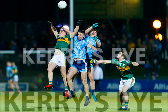 Dara Moynihan Kerry in action against Niall Scully and Brian Howard  Dublin during the Allianz Football League Division 1 Round 3 match between Kerry and Dublin at Austin Stack Park in Tralee, Kerry on Saturday night.