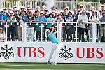 Jeunghun Wang of Korea tees off the first hole during the 58th UBS Hong Kong Golf Open as part of the European Tour on 08 December 2016, at the Hong Kong Golf Club, Fanling, Hong Kong, China. Photo by Marcio Rodrigo Machado / Power Sport Images