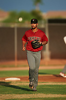 AZL D-backs relief pitcher Brennan Malone (41) jogs onto the field between innings of an Arizona League game against the AZL Mariners on August 7, 2019 at Peoria Sports Complex in Peoria, Arizona. AZL D-backs defeated the AZL Mariners 4-1. (Zachary Lucy/Four Seam Images)