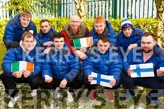 Eight students and their teacher who are going on an expedition to Finland on Friday, and were preparing for the trip in the South Campus on Monday morning.  <br /> Kneeling l-r, Ian Haugh, David Graham, Eodhan McCrohan, Stephen Collins and David Hanney.  <br /> Back l to r: Ray Outram, Thomas Alyward, Dylan Burke and Conor Daly