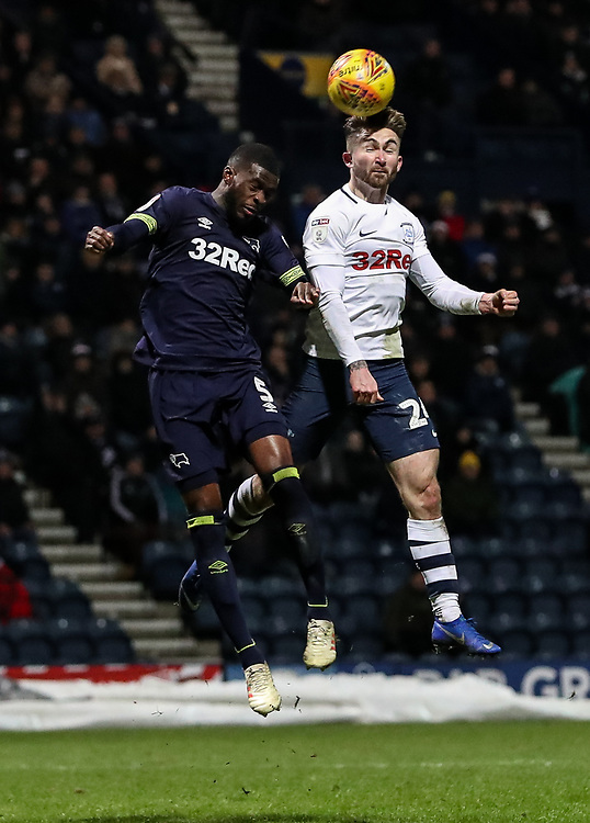 Preston North End's Sean Maguire competing with Derby County's Fikayo Tomori  <br /> <br /> Photographer Andrew Kearns/CameraSport<br /> <br /> The EFL Sky Bet Championship - Preston North End v Derby County - Friday 1st February 2019 - Deepdale Stadium - Preston<br /> <br /> World Copyright © 2019 CameraSport. All rights reserved. 43 Linden Ave. Countesthorpe. Leicester. England. LE8 5PG - Tel: +44 (0) 116 277 4147 - admin@camerasport.com - www.camerasport.com
