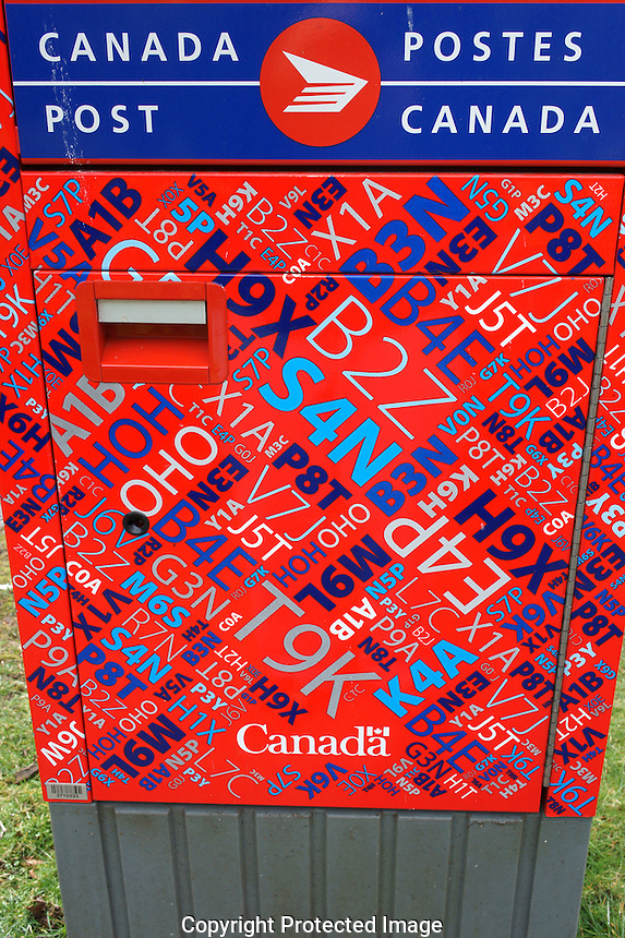 Mailbox decorated Canadian postal codes, Vancouver, British Columbia, Canada