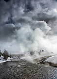 USA, Wyoming, Yellowstone National Park, thermal water spills into the Firehole River from the Excelsior Geyser Crater