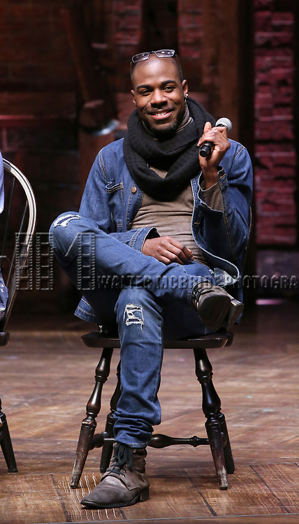 """Justin Dine Bryant during the  #EduHam matinee performance Q & A for """"Hamilton"""" at the Richard Rodgers Theatre on 3/28/2018 in New York City."""