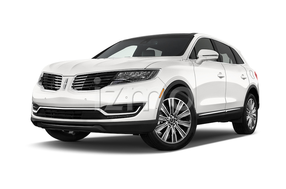 Stock pictures of low aggressive front three quarter view of 2016 Lincoln MKX Black Label 5 Door Suv Low Aggressive