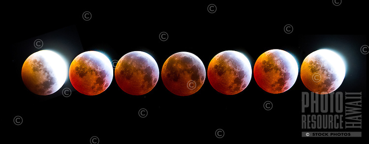 A time lapse image of a blood moon, also known as a total lunar eclipse, taken in Hawai'i.