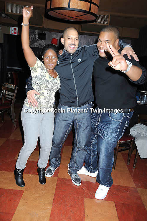 Shenell Edmonds, Terrell Tilford and Sean Ringgold dancing at the Shenell Edmonds Fan Club Dance Party  on October 10, 2010 at HB Burger in New York City.