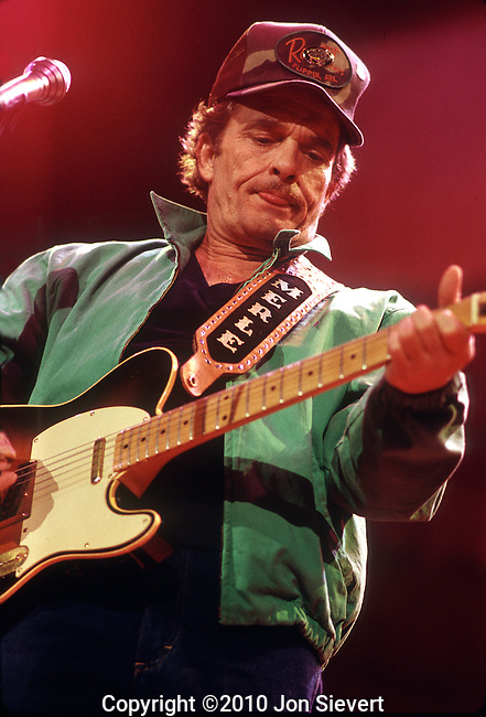 Merle Haggard, April 1987, Oakland Coliseum Arena. American country music singer, guitarist, instrumentalist, and songwriter. Along with Buck Owens, Haggard and his band The Strangers helped create the Bakersfield Sound, which is characterized by the unique twang of Fender Telecaster guitars, vocal harmonies, and a rough edge not heard on the more polished Nashville Sound recordings of the same era.<br />