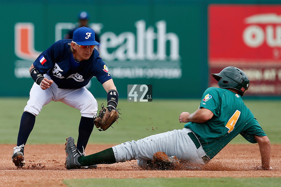 22 September 2012: Luc Piquet tags out Kyle Botha during South Africa 5-2 win over France during the 2012 World Baseball Classic Qualifier round, in Jupiter, Florida, USA.