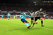4th November 2017, St James Park, Newcastle upon Tyne, England; EPL Premier League football, Newcastle United Bournemouth; Joshua King of AFC Bournemouth crosses past Javi Manquillo of Newcastle United