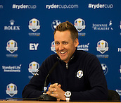 25.09.2014. Gleneagles, Auchterarder, Perthshire, Scotland.  The Ryder Cup.  Ian Poulter (EUR) during his press interview.