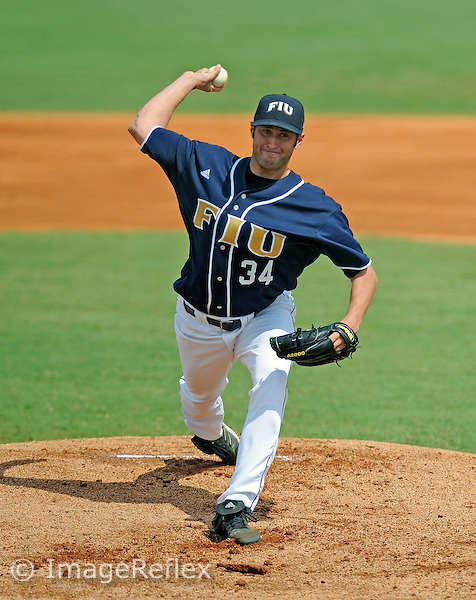 24 February 2008: Florida International University right handed pitcher Steven Stewart (34) pitches against the University of Southern California in USC's 12-7 victory at University Park Stadium, Miami, Florida..