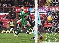 Preston's Callum Robinson scores his side's first goal 0-1<br /> <br /> Photographer Jonathan Hobley/CameraSport<br /> <br /> The EFL Sky Bet Championship - Brentford v Preston North End - Saturday 10th February 2018 - Griffin Park - Brentford<br /> <br /> World Copyright &copy; 2018 CameraSport. All rights reserved. 43 Linden Ave. Countesthorpe. Leicester. England. LE8 5PG - Tel: +44 (0) 116 277 4147 - admin@camerasport.com - www.camerasport.com