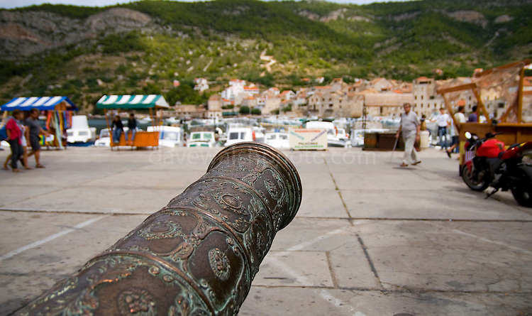 Old Cannon on the pier at Komiza, on the island of Vis, Croatia. ..