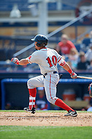 Portland Sea Dogs right fielder Luke Tendler (10) follows through on a swing during the first game of a doubleheader against the Reading Fightin Phils on May 15, 2018 at FirstEnergy Stadium in Reading, Pennsylvania.  Portland defeated Reading 8-4.  (Mike Janes/Four Seam Images)