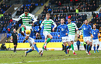 1st March 2020; McDairmid Park, Perth, Perth and Kinross, Scotland; Scottish Premiership Football, St Johnstone versus Celtic; Christopher Jullien of Celtic tries to help the ball into the St Johnstone net, and Celtic go into a 1-0 lead in the 81st minute
