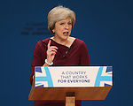 © Joel Goodman - 07973 332324 . 05/10/2016 . Birmingham , UK . THERESA MAY delivers the leader's speech at the close of the conference . The fourth and final day of the Conservative Party Conference at the International Convention Centre in Birmingham . Photo credit : Joel Goodman