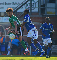 Lincoln City's Lee Angol vies for possession with Eastleigh's Gavin Hoyte<br /> <br /> Photographer Andrew Vaughan/CameraSport<br /> <br /> Vanarama National League - Eastleigh v Lincoln City - Saturday 8th April 2017 - Silverlake Stadium - Eastleigh<br /> <br /> World Copyright &copy; 2017 CameraSport. All rights reserved. 43 Linden Ave. Countesthorpe. Leicester. England. LE8 5PG - Tel: +44 (0) 116 277 4147 - admin@camerasport.com - www.camerasport.com