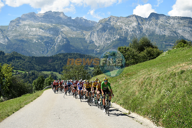 The peloton led by Wout Van Aert (BEL) and Team Jumbo-Visma climb Col de La Croix Fry during Stage 4 of Criterium du Dauphine 2020, running 157km from Ugine to Megeve, France. 15th August 2020.<br /> Picture: ASO/Alex Broadway | Cyclefile<br /> All photos usage must carry mandatory copyright credit (© Cyclefile | ASO/Alex Broadway)