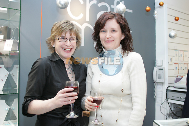 Collette Mulholland and Ciara MacFeely at the Mull wine reception in the Droichead Arts centre.Photo: Fran Caffrey/ Newsfile.<br />