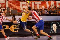 28.04.2012 MADRID, SPAIN -  EHF Champions League match played between BM At. Madrid vs  Cimos Koper (31-24) at Palacio Vistalegre stadium. The picture show Sebastian Skube (Center of Cimos Koper)