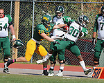 SPEARFISH, S.D. -- Scott Boner #30 of Black Hills State University shoves Michael Carl #30 of Adams State out of bounds after a reception during their Rocky Mountain Athletic Conference college football game Saturday afternoon at Lyle Hare Stadium in Spearfish, S.D. (Photo by Richard Carlson/Inertia) (Photo by Richard Carlson/Inertia)