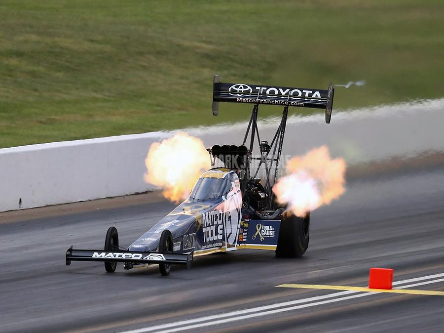 May 18, 2018; Topeka, KS, USA; NHRA top fuel driver Antron Brown during qualifying for the Heartland Nationals at Heartland Motorsports Park. Mandatory Credit: Mark J. Rebilas-USA TODAY Sports