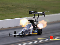 May 18, 2018; Topeka, KS, USA; NHRA top fuel driver Antron Brown during qualifying for the Heartland Nationals at Heartland Motorsports Park. Mandatory Credit: Mark J. Rebilas-USA TODAY Sports